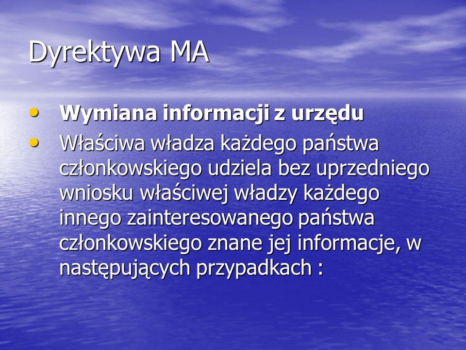 Dyrektywa MA Wymiana informacji z urzędu Wymiana informacji z urzędu Właściwa władza każdego państwa członkowskiego udziela bez uprzedniego wniosku wł