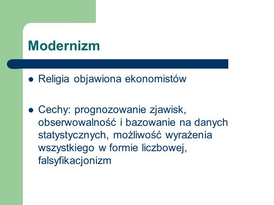 Modernizm Religia objawiona ekonomistów Cechy: prognozowanie zjawisk, obserwowalność i bazowanie na danych statystycznych, możliwość wyrażenia wszystkiego w formie liczbowej, falsyfikacjonizm