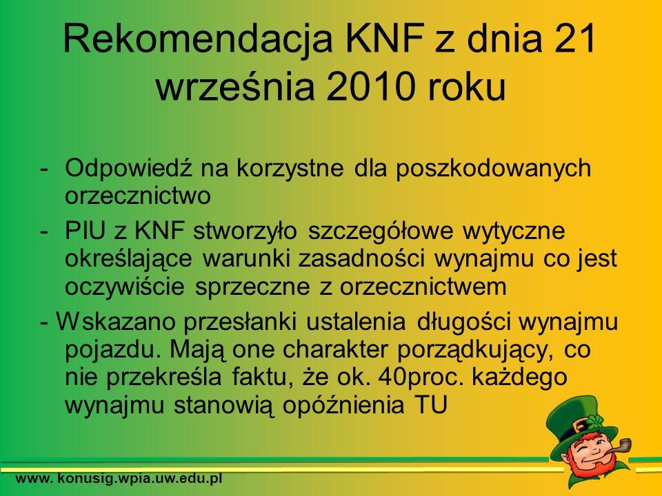 Rekomendacja KNF z dnia 21 września 2010 roku -Odpowiedź na korzystne dla poszkodowanych orzecznictwo -PIU z KNF stworzyło szczegółowe wytyczne określ