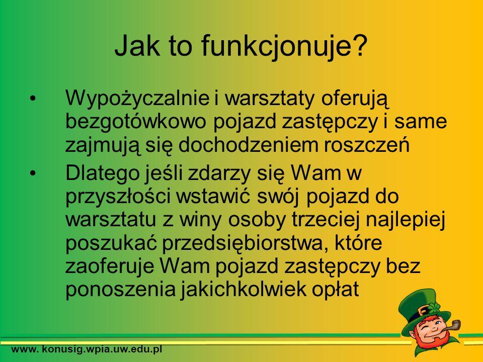 www. konusig.wpia.uw.edu.pl Jak to funkcjonuje? Wypożyczalnie i warsztaty oferują bezgotówkowo pojazd zastępczy i same zajmują się dochodzeniem roszcz