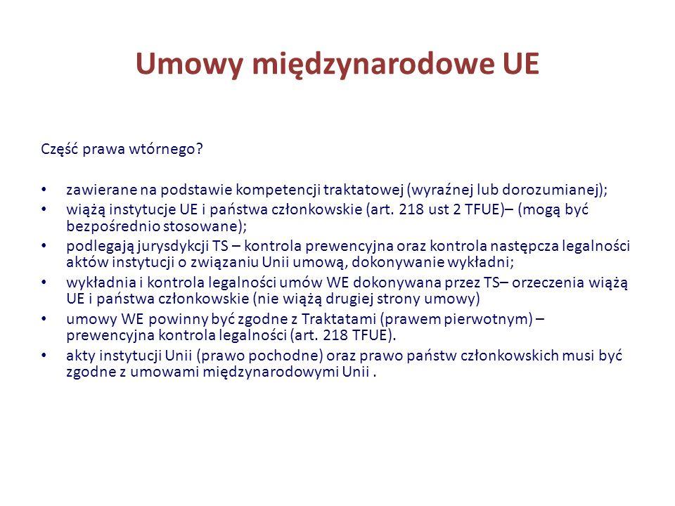 Umowy międzynarodowe UE Część prawa wtórnego? zawierane na podstawie kompetencji traktatowej (wyraźnej lub dorozumianej); wiążą instytucje UE i państw