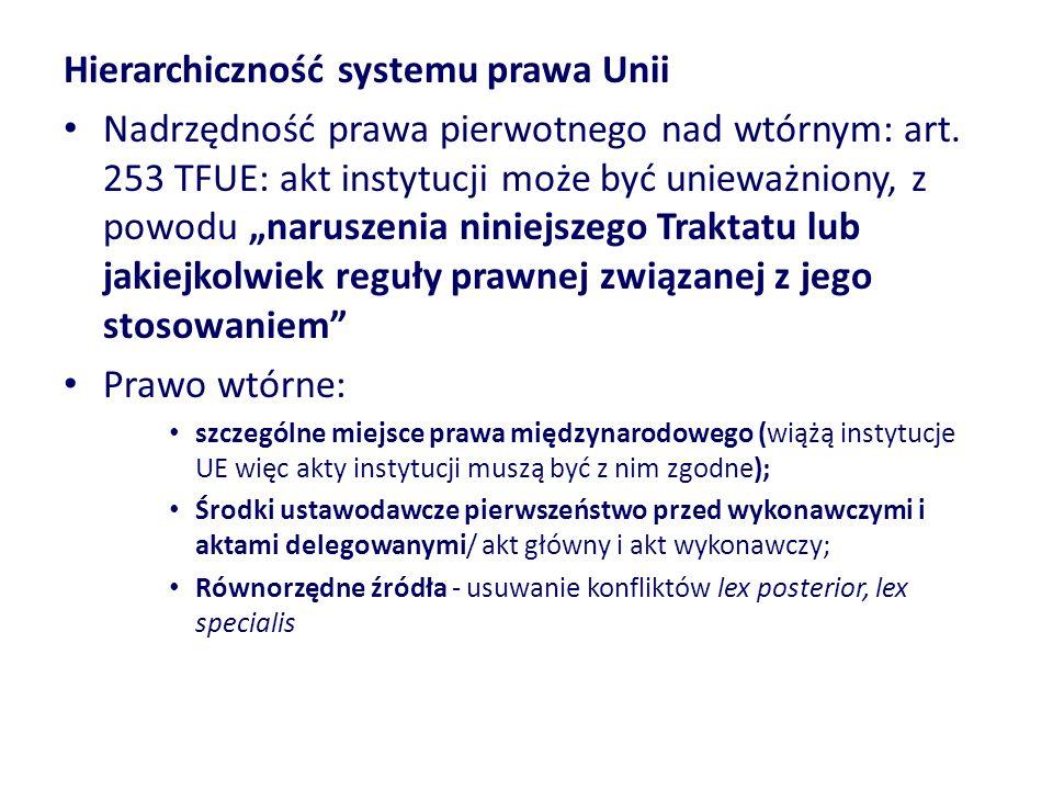 Hierarchiczność systemu prawa Unii Nadrzędność prawa pierwotnego nad wtórnym: art. 253 TFUE: akt instytucji może być unieważniony, z powodu naruszenia