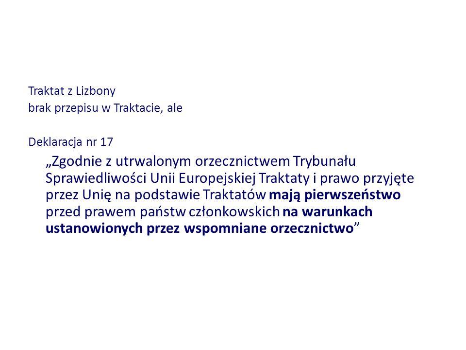 Traktat z Lizbony brak przepisu w Traktacie, ale Deklaracja nr 17 Zgodnie z utrwalonym orzecznictwem Trybunału Sprawiedliwości Unii Europejskiej Trakt
