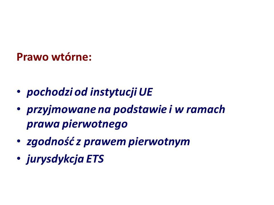 Prawo wtórne: pochodzi od instytucji UE przyjmowane na podstawie i w ramach prawa pierwotnego zgodność z prawem pierwotnym jurysdykcja ETS