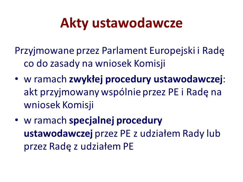 Akty ustawodawcze Przyjmowane przez Parlament Europejski i Radę co do zasady na wniosek Komisji w ramach zwykłej procedury ustawodawczej: akt przyjmow