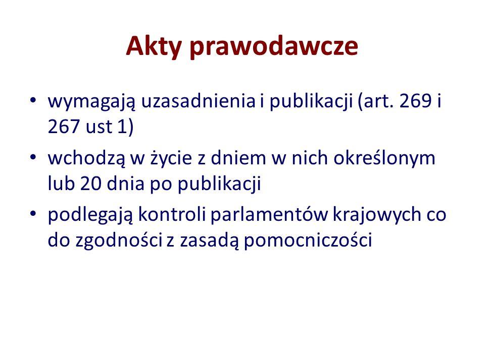 Akty prawodawcze wymagają uzasadnienia i publikacji (art. 269 i 267 ust 1) wchodzą w życie z dniem w nich określonym lub 20 dnia po publikacji podlega
