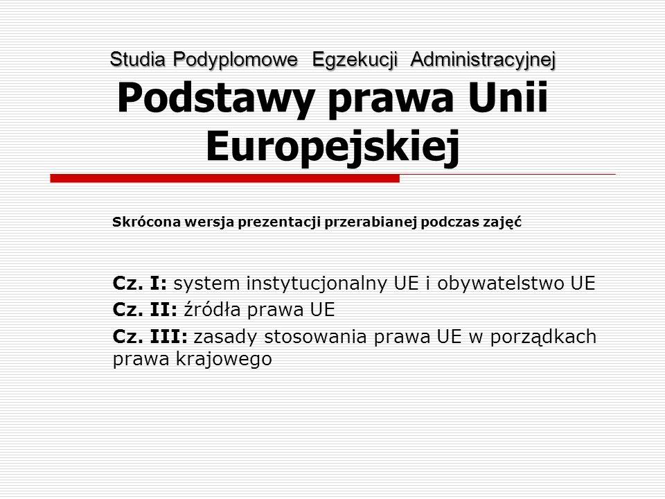 Studia Podyplomowe Egzekucji Administracyjnej Studia Podyplomowe Egzekucji Administracyjnej Podstawy prawa Unii Europejskiej Skrócona wersja prezentac