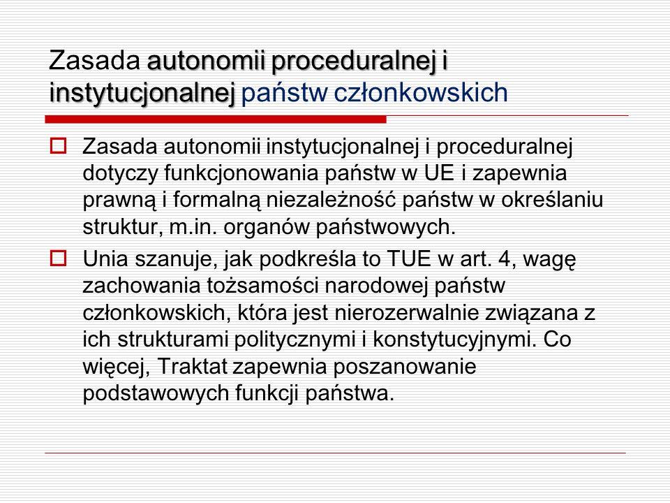 autonomii proceduralnej i instytucjonalnej Zasada autonomii proceduralnej i instytucjonalnej państw członkowskich Zasada autonomii instytucjonalnej i