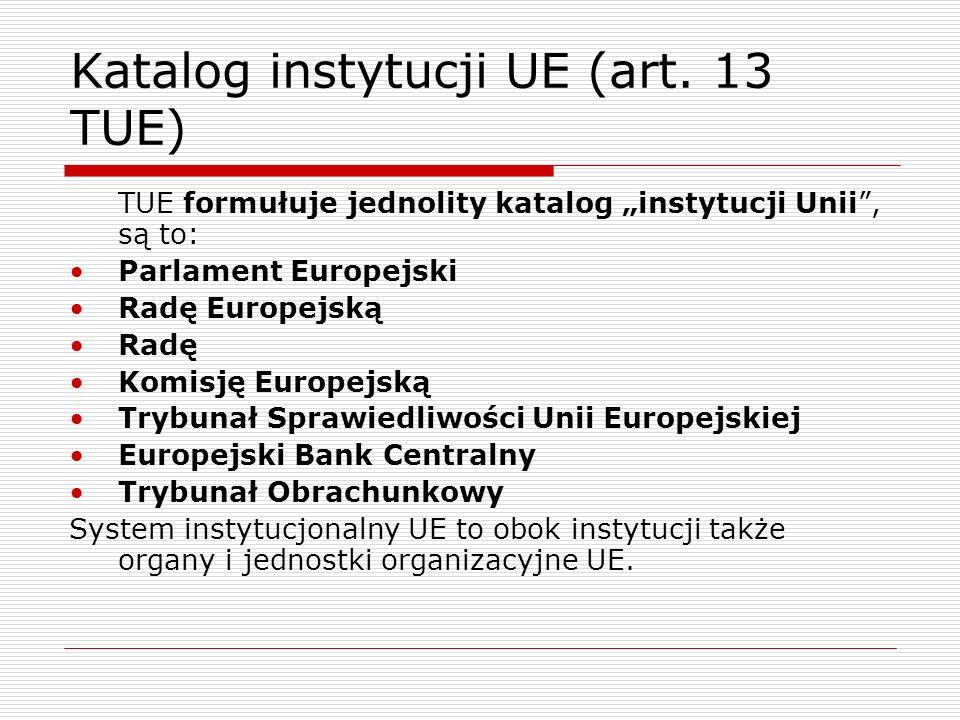 Katalog instytucji UE (art. 13 TUE) TUE formułuje jednolity katalog instytucji Unii, są to: Parlament Europejski Radę Europejską Radę Komisję Europejs