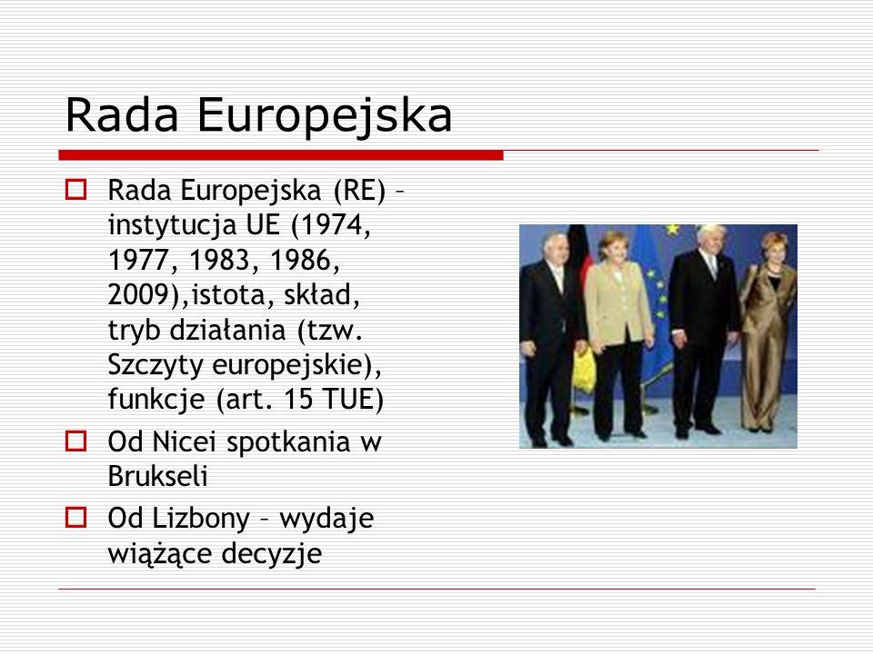 Rada Europejska Rada Europejska (RE) – instytucja UE (1974, 1977, 1983, 1986, 2009),istota, skład, tryb działania (tzw. Szczyty europejskie), funkcje