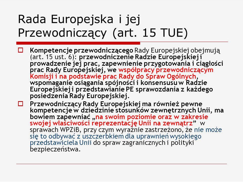 Rada Europejska i jej Przewodniczący (art. 15 TUE) Kompetencje przewodniczącego Rady Europejskiej obejmują (art. 15 ust. 6): przewodniczenie Radzie Eu