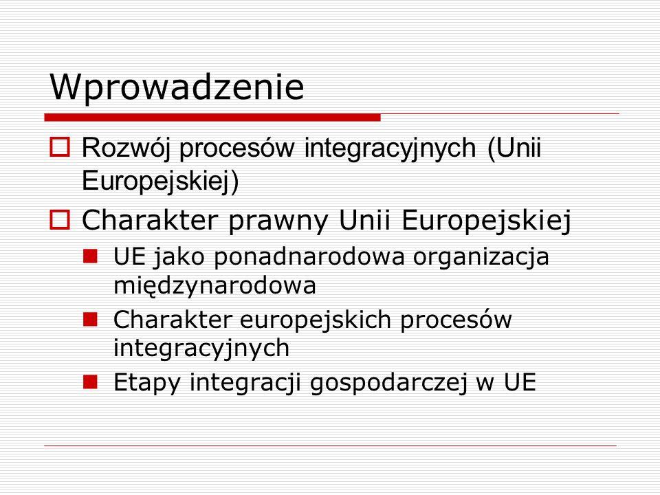 Wprowadzenie Rozwój procesów integracyjnych (Unii Europejskiej) Charakter prawny Unii Europejskiej UE jako ponadnarodowa organizacja międzynarodowa Ch
