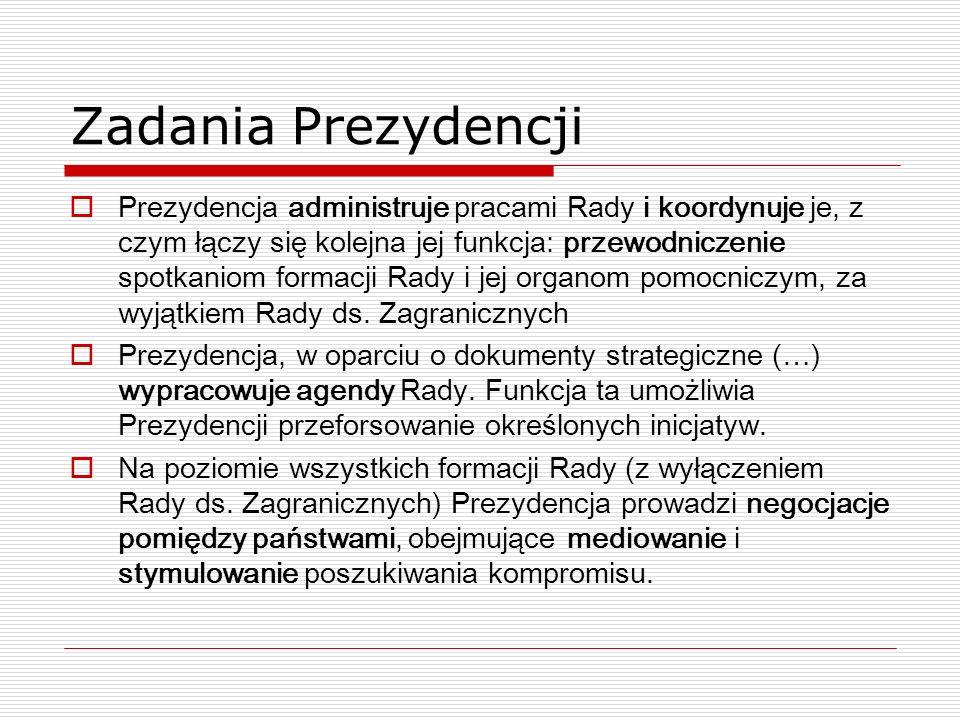 Zadania Prezydencji Prezydencja administruje pracami Rady i koordynuje je, z czym łączy się kolejna jej funkcja: przewodniczenie spotkaniom formacji R