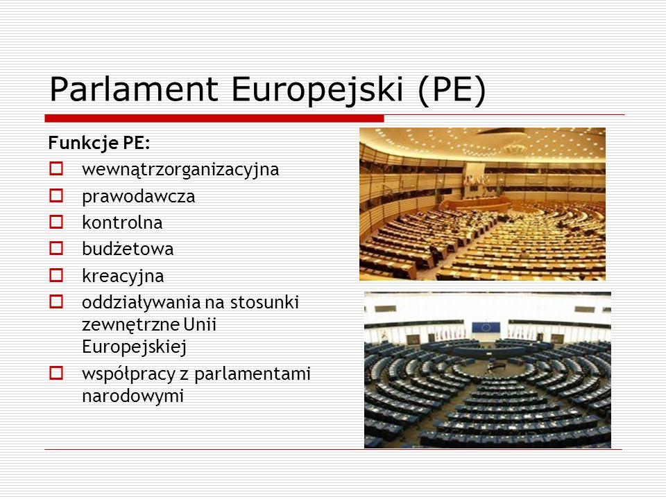 Parlament Europejski (PE) Funkcje PE: wewnątrzorganizacyjna prawodawcza kontrolna budżetowa kreacyjna oddziaływania na stosunki zewnętrzne Unii Europe