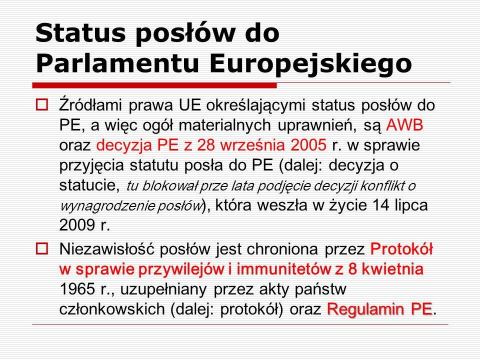 Status posłów do Parlamentu Europejskiego Źródłami prawa UE określającymi status posłów do PE, a więc ogół materialnych uprawnień, są AWB oraz decyzja