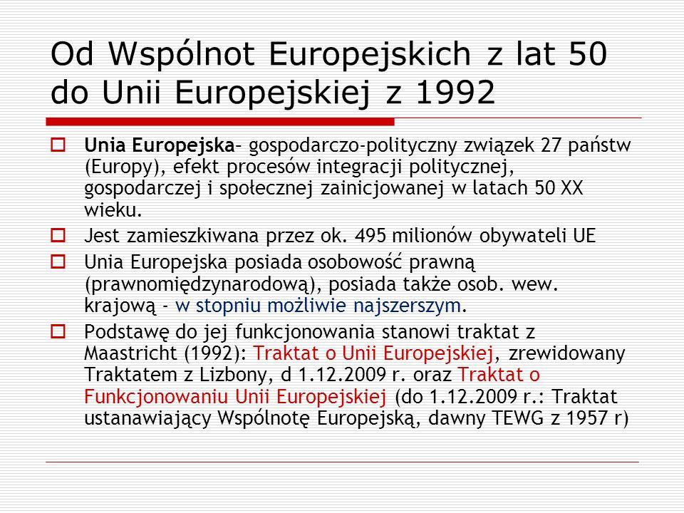 Od Wspólnot Europejskich z lat 50 do Unii Europejskiej z 1992 Unia Europejska– gospodarczo-polityczny związek 27 państw (Europy), efekt procesów integ