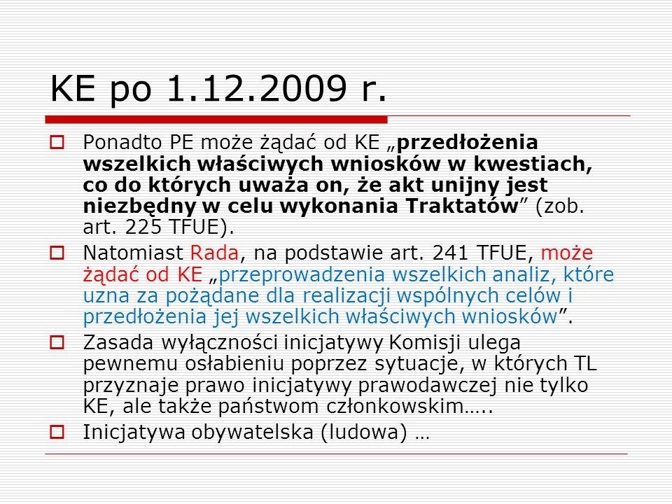 KE po 1.12.2009 r. Ponadto PE może żądać od KE przedłożenia wszelkich właściwych wniosków w kwestiach, co do których uważa on, że akt unijny jest niez