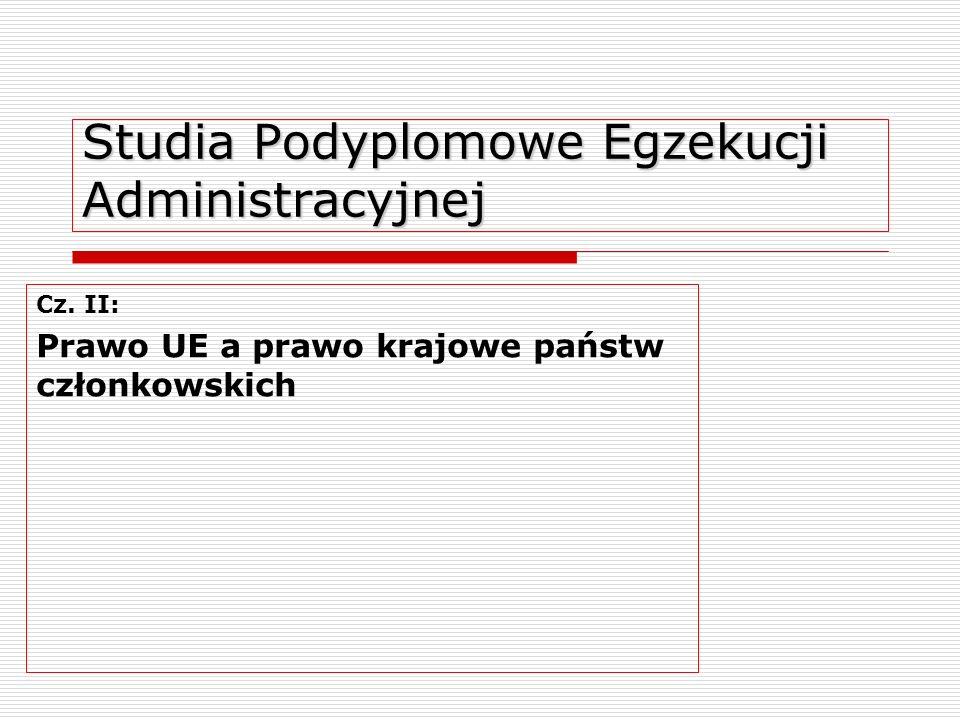 Studia Podyplomowe Egzekucji Administracyjnej Cz. II: Prawo UE a prawo krajowe państw członkowskich