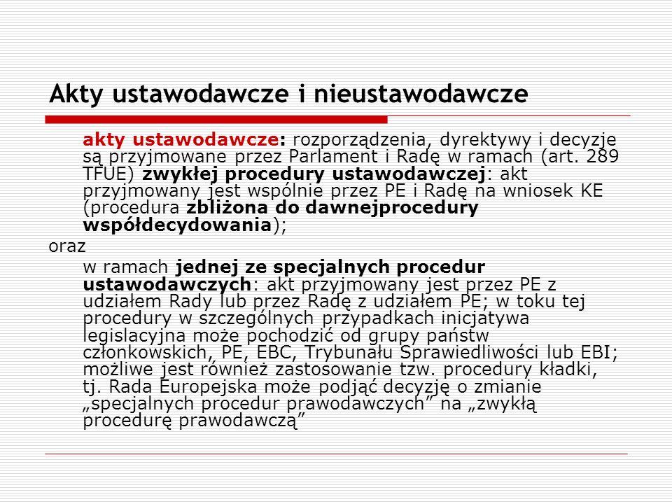 Akty ustawodawcze i nieustawodawcze akty ustawodawcze: rozporządzenia, dyrektywy i decyzje są przyjmowane przez Parlament i Radę w ramach (art. 289 TF