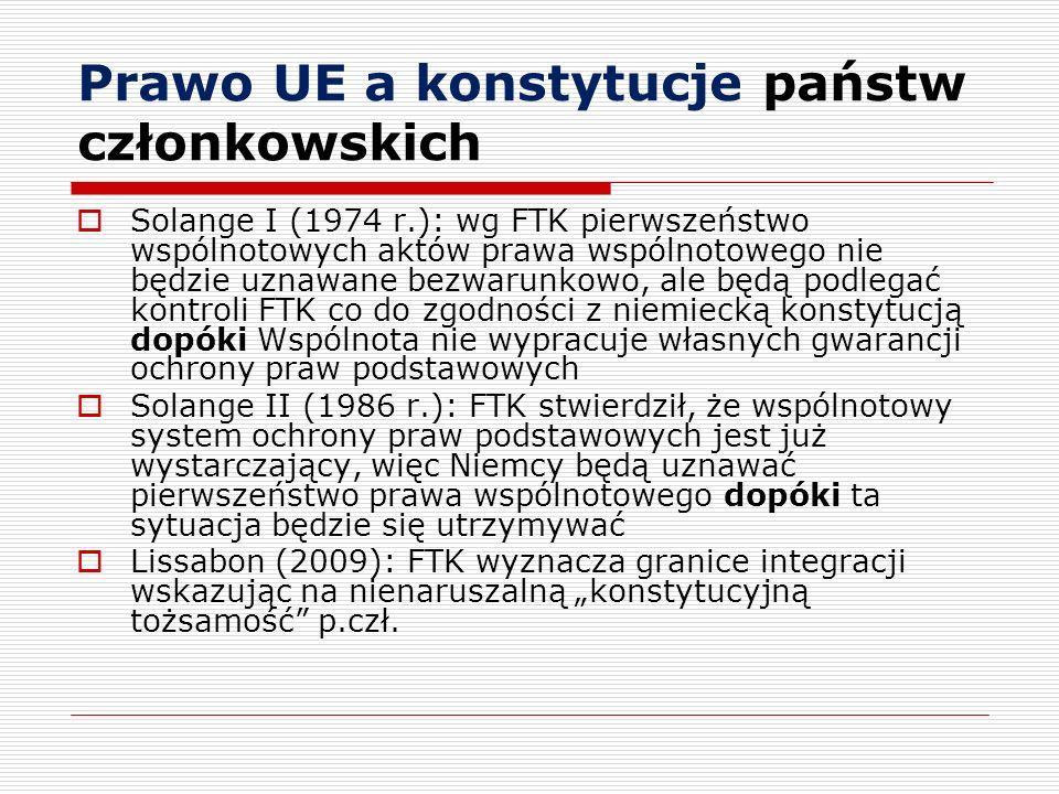 Prawo UE a konstytucje państw członkowskich Solange I (1974 r.): wg FTK pierwszeństwo wspólnotowych aktów prawa wspólnotowego nie będzie uznawane bezw
