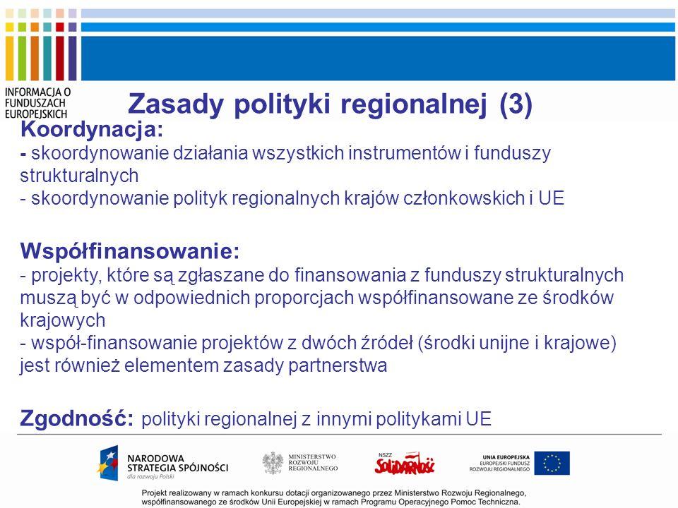Zasady polityki regionalnej (3) Koordynacja: - skoordynowanie działania wszystkich instrumentów i funduszy strukturalnych - skoordynowanie polityk reg