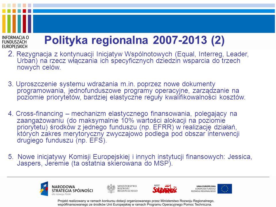 Polityka regionalna 2007-2013 (2) 2. Rezygnacja z kontynuacji Inicjatyw Wspólnotowych (Equal, Interreg, Leader, Urban) na rzecz włączania ich specyfic