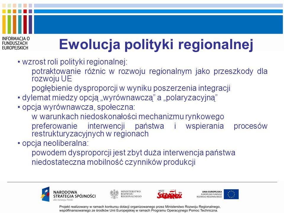 Ewolucja polityki regionalnej wzrost roli polityki regionalnej: potraktowanie różnic w rozwoju regionalnym jako przeszkody dla rozwoju UE pogłębienie