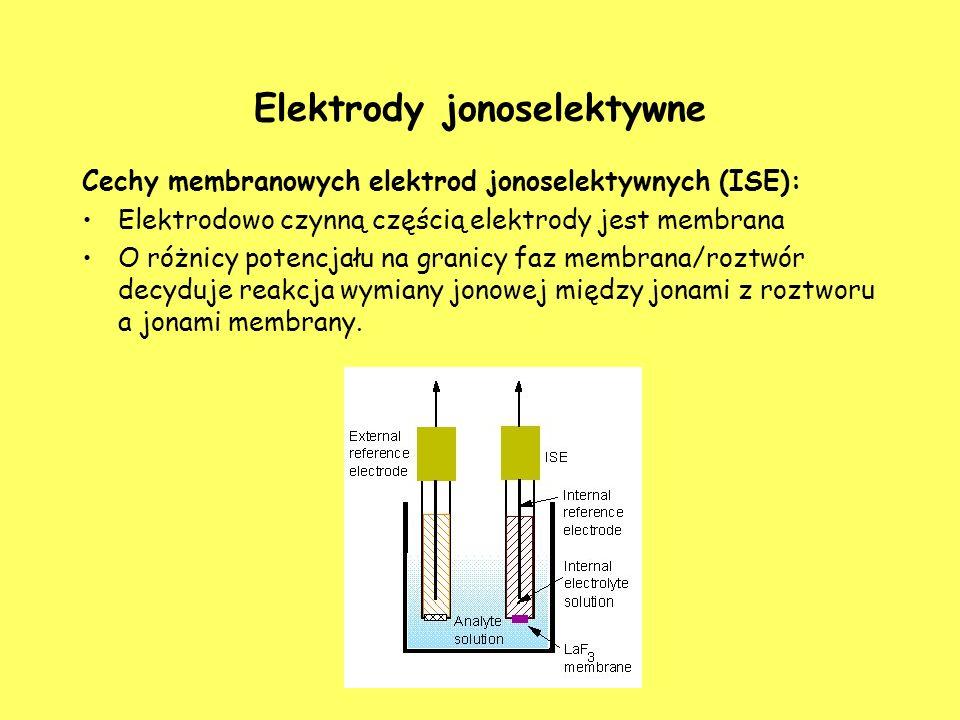 Elektrody jonoselektywne Cechy membranowych elektrod jonoselektywnych (ISE): Elektrodowo czynną częścią elektrody jest membrana O różnicy potencjału n