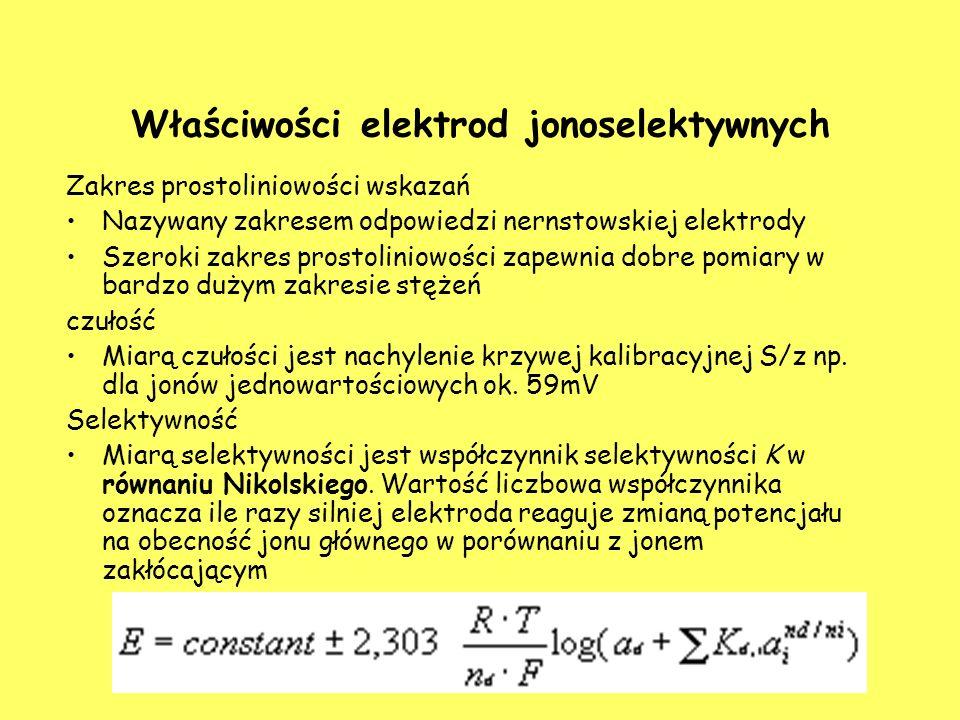Właściwości elektrod jonoselektywnych Zakres prostoliniowości wskazań Nazywany zakresem odpowiedzi nernstowskiej elektrody Szeroki zakres prostoliniowości zapewnia dobre pomiary w bardzo dużym zakresie stężeń czułość Miarą czułości jest nachylenie krzywej kalibracyjnej S/z np.