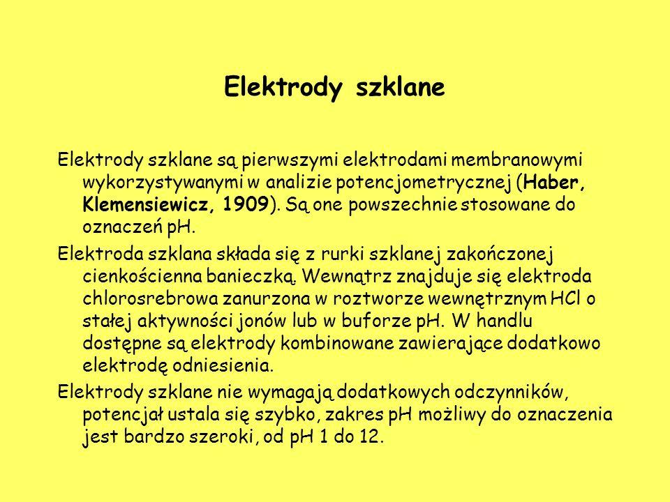 Elektrody szklane Elektrody szklane są pierwszymi elektrodami membranowymi wykorzystywanymi w analizie potencjometrycznej (Haber, Klemensiewicz, 1909)