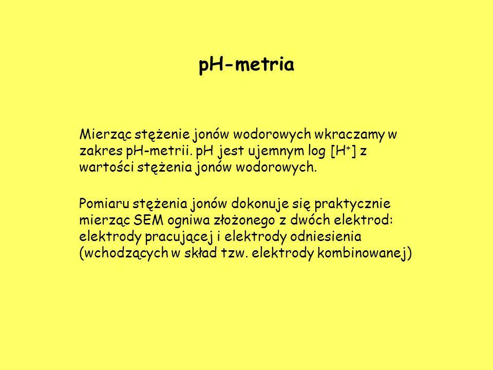 pH-metria Mierząc stężenie jonów wodorowych wkraczamy w zakres pH-metrii. pH jest ujemnym log [H + ] z wartości stężenia jonów wodorowych. Pomiaru stę