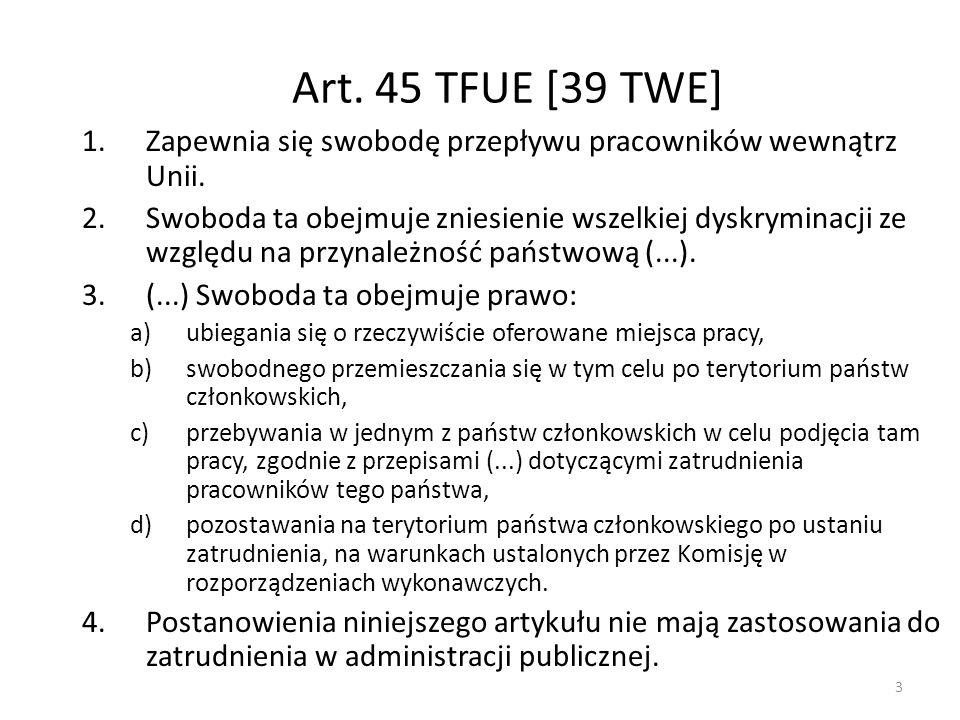 Artykuł 48 (dawny artykuł 42 TWE) Parlament Europejski i Rada, stanowiąc zgodnie ze zwykłą procedurą prawodawczą, przyjmują w dziedzinie zabezpieczenia społecznego środki niezbędne do ustanowienia swobodnego przepływu pracowników; w tym celu Rada ustanawia system umożliwiający migrującym pracownikom najemnym i osobom prowadzącym działalność na własny rachunek oraz uprawnionym osobom od nich zależnym: a) zaliczenie wszystkich okresów uwzględnianych w prawie poszczególnych państw, w celu nabycia i zachowania prawa do świadczeń oraz naliczenia wysokości świadczeń; b) wypłatę świadczeń osobom mającym miejsce zamieszkania na terytoriach Państw Członkowskich.