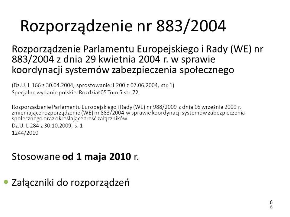 Rozporządzenie nr 987/2009 Rozporządzenie Parlamentu Europejskiego i Rady (WE) nr 987/2009 z dnia 16 września 2009 r.