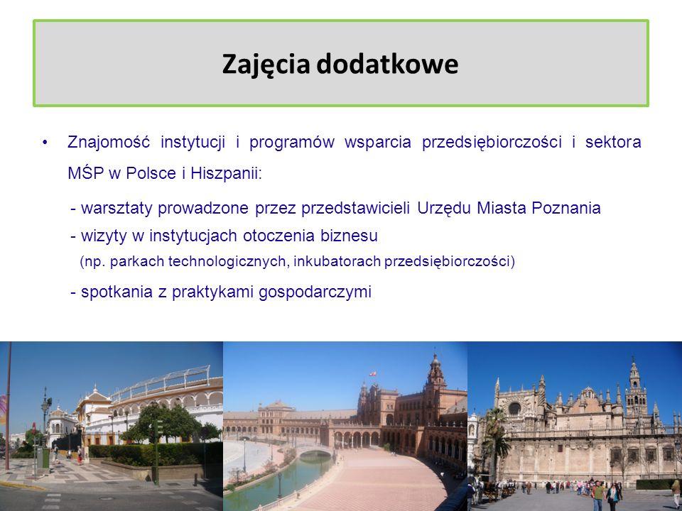 Zajęcia dodatkowe Znajomość instytucji i programów wsparcia przedsiębiorczości i sektora MŚP w Polsce i Hiszpanii: - warsztaty prowadzone przez przeds