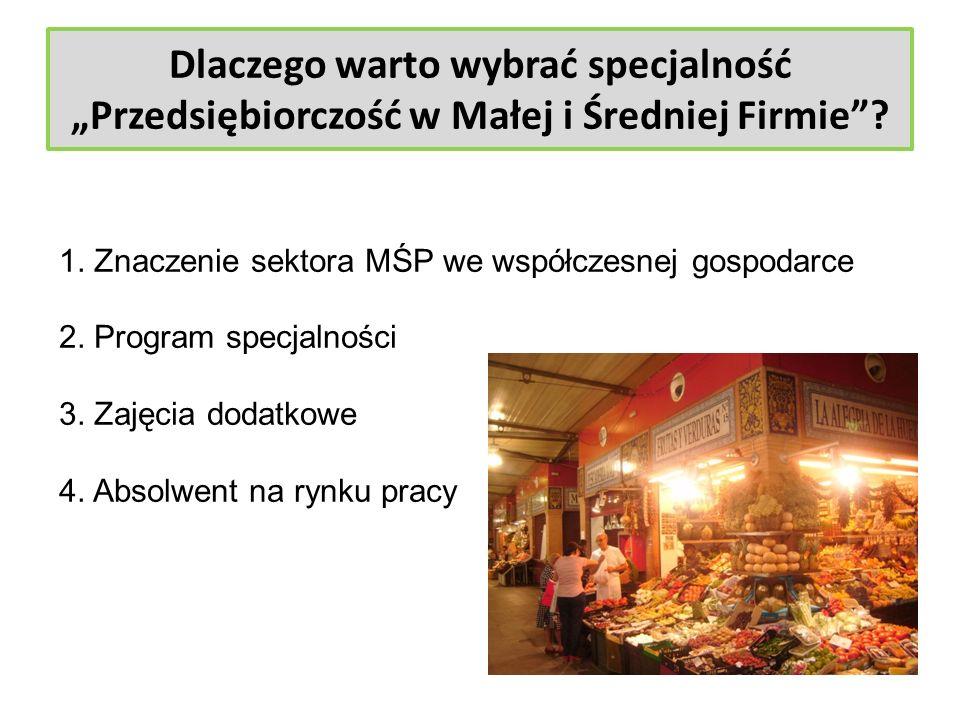 Dlaczego warto wybrać specjalność Przedsiębiorczość w Małej i Średniej Firmie? 1. Znaczenie sektora MŚP we współczesnej gospodarce 2. Program specjaln