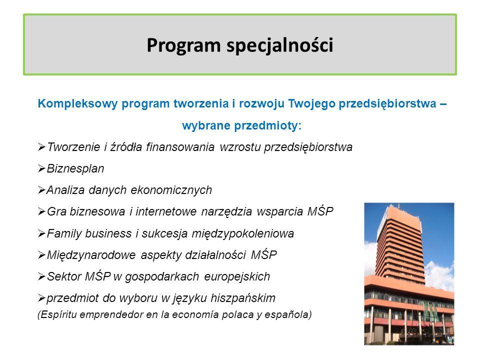 Program specjalności Kompleksowy program tworzenia i rozwoju Twojego przedsiębiorstwa – wybrane przedmioty: Tworzenie i źródła finansowania wzrostu pr