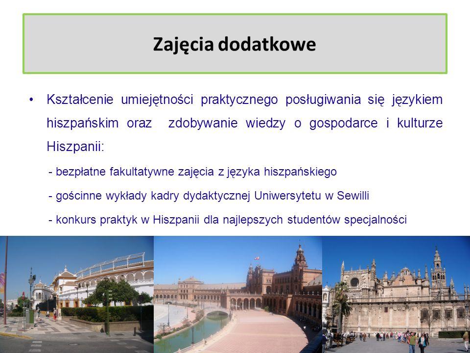 Zajęcia dodatkowe Znajomość instytucji i programów wsparcia przedsiębiorczości i sektora MŚP w Polsce i Hiszpanii: - warsztaty prowadzone przez przedstawicieli Urzędu Miasta Poznania - wizyty w instytucjach otoczenia biznesu (np.