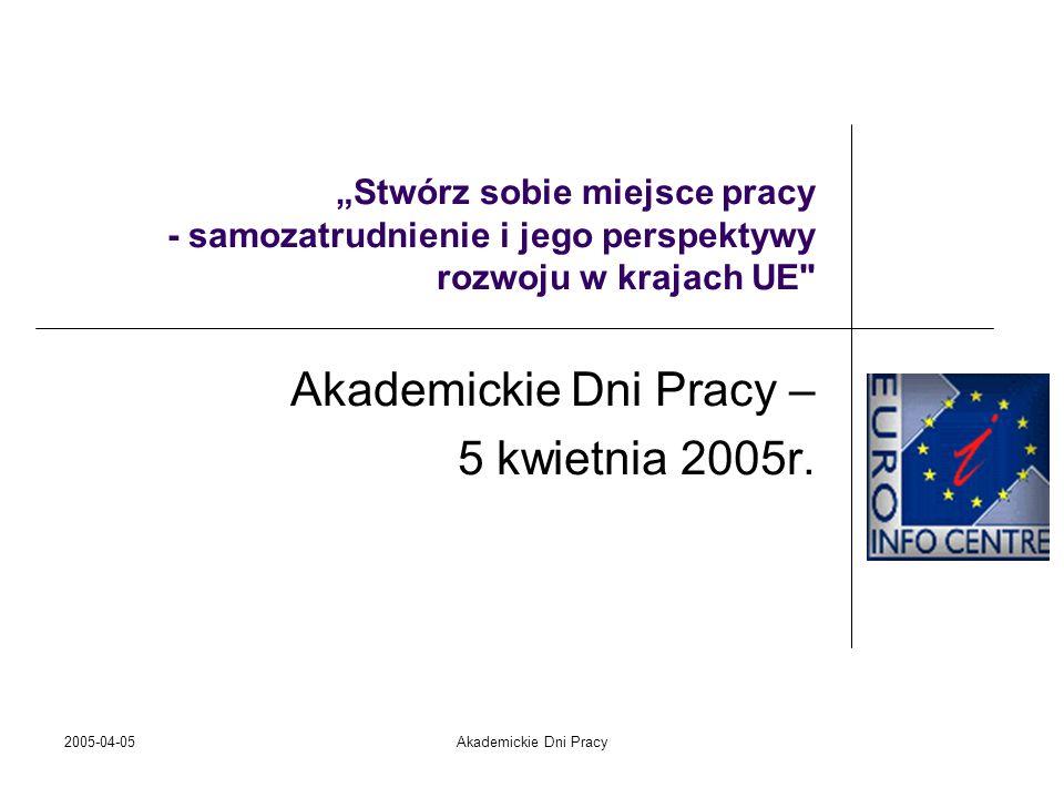 2005-04-05Akademickie Dni Pracy Sieć Euro Info Projekt powstał w Komisji Wspólnot Europejskich w 1986 Projekt powstał w Komisji Wspólnot Europejskich w 1986 Cel projektu Cel projektu stworzenie narzędzia do komunikacji pomiędzy Komisją Europejską a małymi i średnimi firmami oraz udzielenie pomocy przedsiębiorcom pragnącym dostosować się do szybko zmieniającej się rzeczywistości ekonomicznej stworzenie narzędzia do komunikacji pomiędzy Komisją Europejską a małymi i średnimi firmami oraz udzielenie pomocy przedsiębiorcom pragnącym dostosować się do szybko zmieniającej się rzeczywistości ekonomicznej Nasz atut to jednoczesny kontakt z przedstawicielami Komisji Europejskiej i przedsiębiorcami z całej Europy Nasz atut to jednoczesny kontakt z przedstawicielami Komisji Europejskiej i przedsiębiorcami z całej Europy