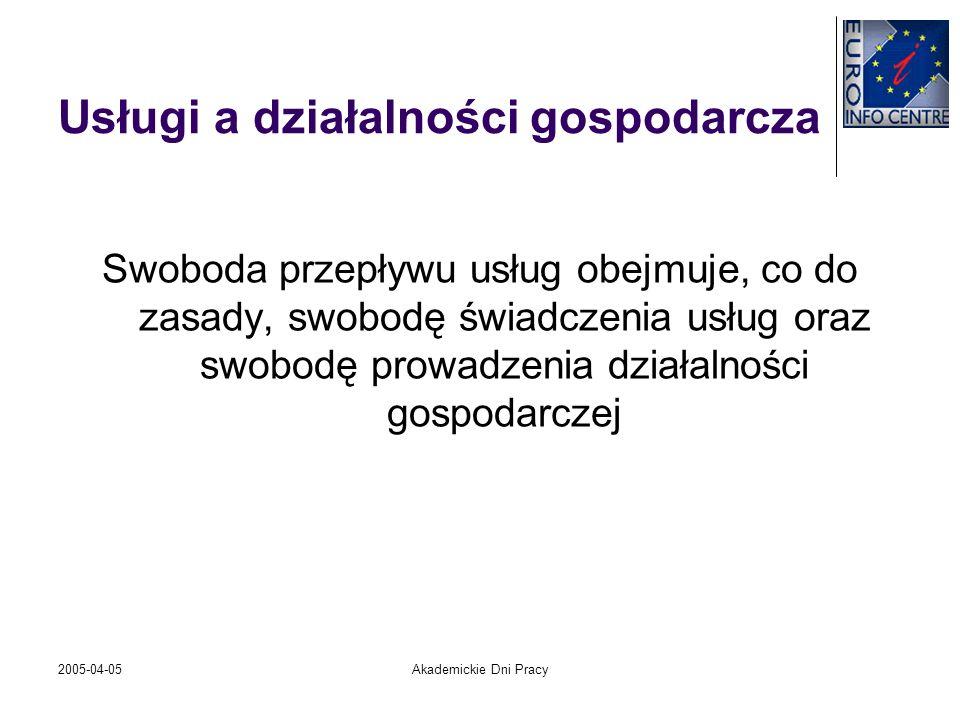 2005-04-05Akademickie Dni Pracy Usługi a działalności gospodarcza Swoboda przepływu usług obejmuje, co do zasady, swobodę świadczenia usług oraz swobo