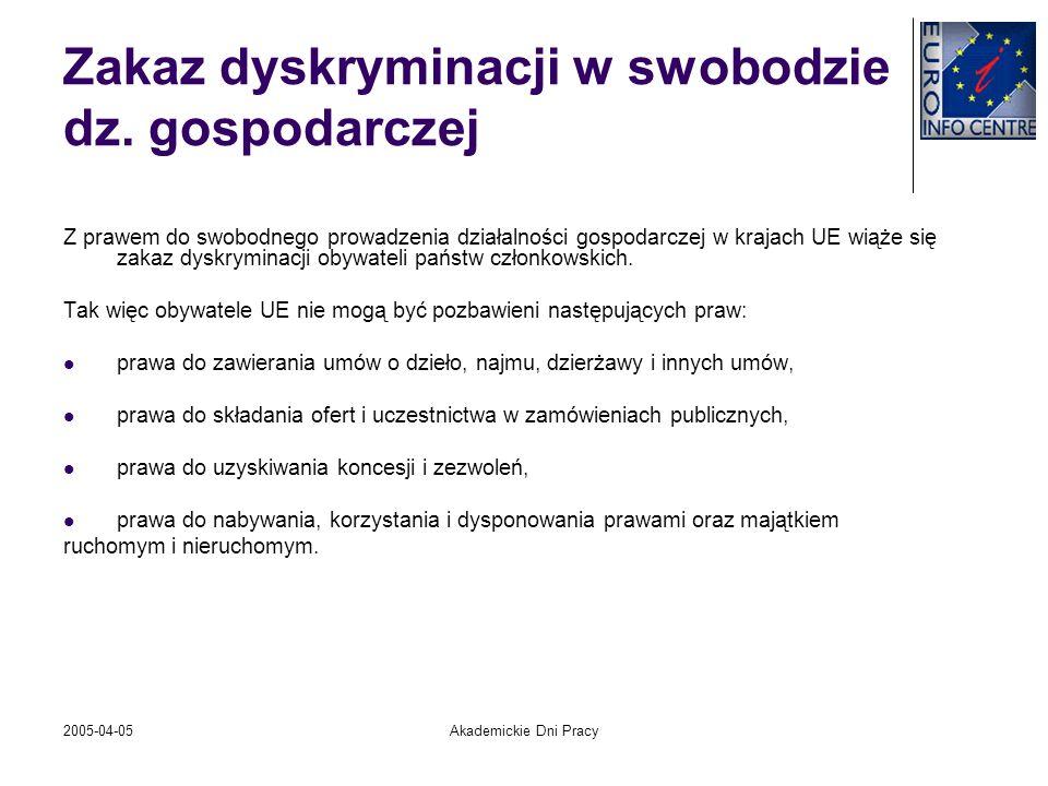 2005-04-05Akademickie Dni Pracy Zakaz dyskryminacji w swobodzie dz. gospodarczej Z prawem do swobodnego prowadzenia działalności gospodarczej w krajac