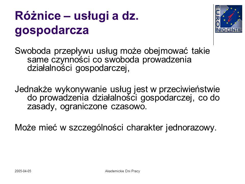 2005-04-05Akademickie Dni Pracy Różnice – usługi a dz. gospodarcza Swoboda przepływu usług może obejmować takie same czynności co swoboda prowadzenia