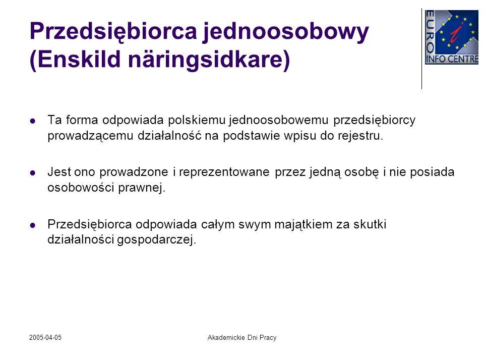 2005-04-05Akademickie Dni Pracy Przedsiębiorca jednoosobowy (Enskild näringsidkare) Ta forma odpowiada polskiemu jednoosobowemu przedsiębiorcy prowadz