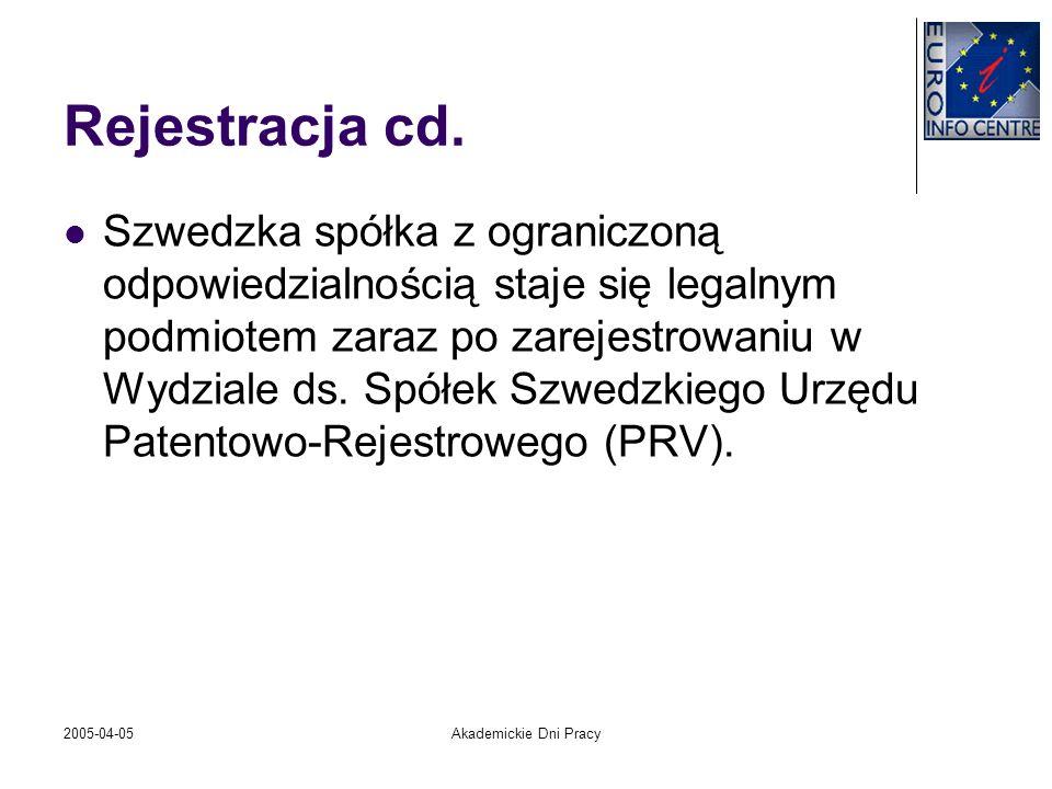2005-04-05Akademickie Dni Pracy Rejestracja cd. Szwedzka spółka z ograniczoną odpowiedzialnością staje się legalnym podmiotem zaraz po zarejestrowaniu