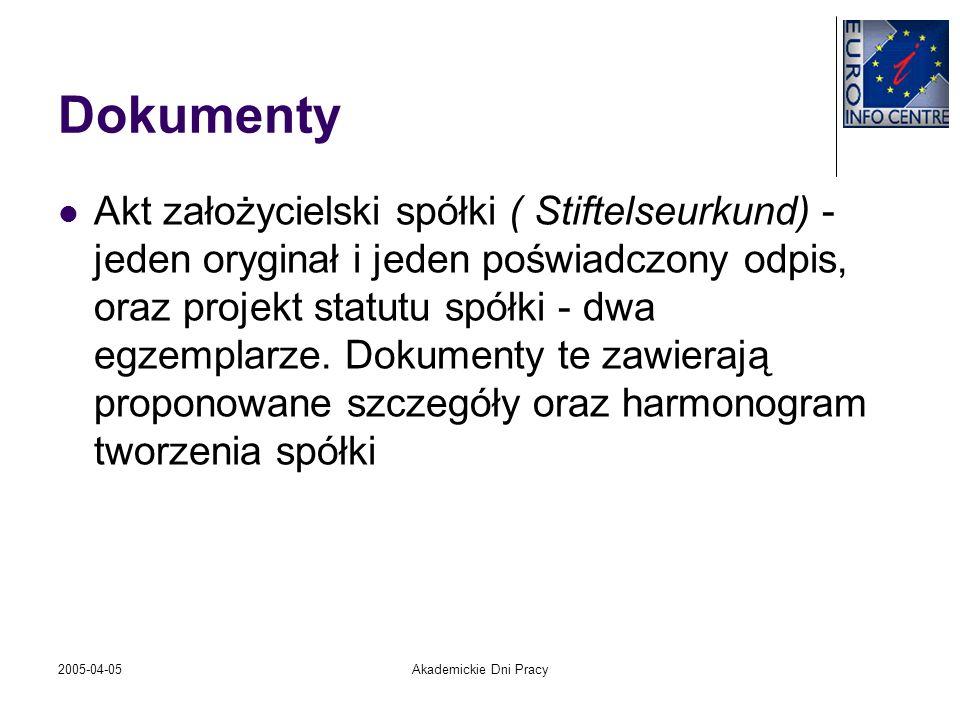 2005-04-05Akademickie Dni Pracy Dokumenty Akt założycielski spółki ( Stiftelseurkund) - jeden oryginał i jeden poświadczony odpis, oraz projekt statut