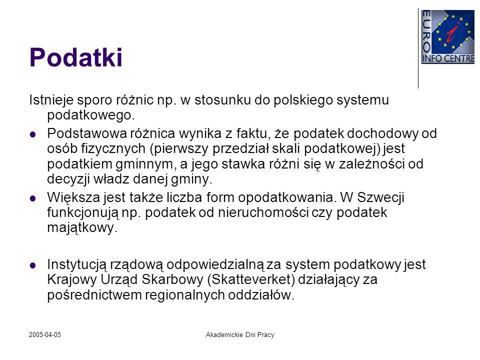 2005-04-05Akademickie Dni Pracy Podatki Istnieje sporo różnic np. w stosunku do polskiego systemu podatkowego. Podstawowa różnica wynika z faktu, że p