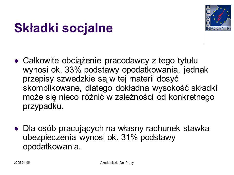 2005-04-05Akademickie Dni Pracy Składki socjalne Całkowite obciążenie pracodawcy z tego tytułu wynosi ok. 33% podstawy opodatkowania, jednak przepisy