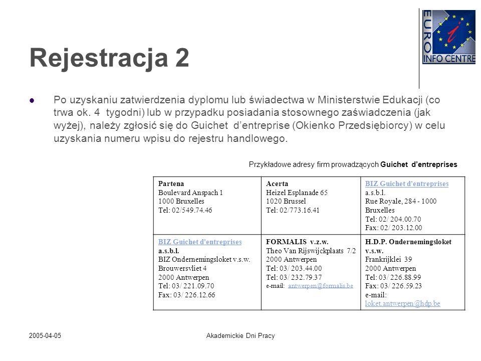 2005-04-05Akademickie Dni Pracy Rejestracja 2 Po uzyskaniu zatwierdzenia dyplomu lub świadectwa w Ministerstwie Edukacji (co trwa ok. 4 tygodni) lub w