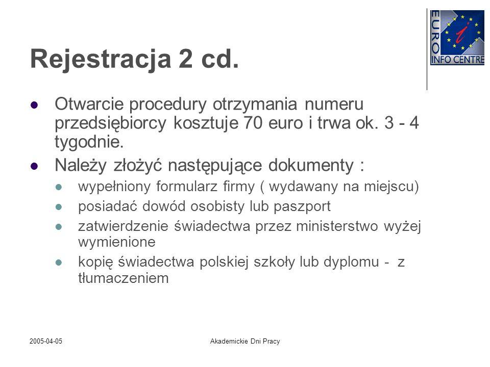 2005-04-05Akademickie Dni Pracy Rejestracja 2 cd. Otwarcie procedury otrzymania numeru przedsiębiorcy kosztuje 70 euro i trwa ok. 3 - 4 tygodnie. Nale