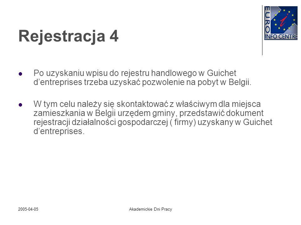 2005-04-05Akademickie Dni Pracy Rejestracja 4 Po uzyskaniu wpisu do rejestru handlowego w Guichet dentreprises trzeba uzyskać pozwolenie na pobyt w Be