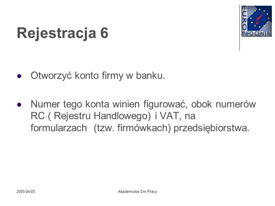 2005-04-05Akademickie Dni Pracy Rejestracja 6 Otworzyć konto firmy w banku. Numer tego konta winien figurować, obok numerów RC ( Rejestru Handlowego)